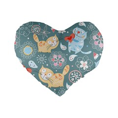 Cute Cat Background Pattern Standard 16  Premium Flano Heart Shape Cushions by BangZart