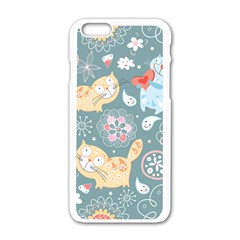 Cute Cat Background Pattern Apple Iphone 6/6s White Enamel Case by BangZart