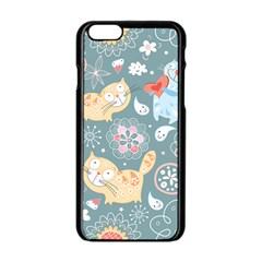 Cute Cat Background Pattern Apple Iphone 6/6s Black Enamel Case