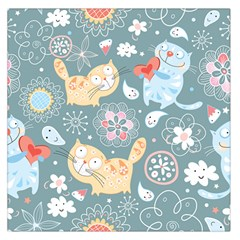 Cute Cat Background Pattern Large Satin Scarf (square)