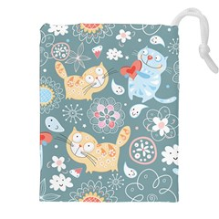 Cute Cat Background Pattern Drawstring Pouches (xxl)