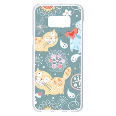 Cute Cat Background Pattern Samsung Galaxy S8 Plus White Seamless Case by BangZart