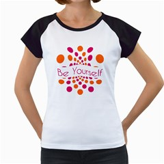 Be Yourself Pink Orange Dots Circular Women s Cap Sleeve T by BangZart