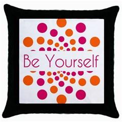 Be Yourself Pink Orange Dots Circular Throw Pillow Case (black) by BangZart