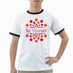 Be Yourself Pink Orange Dots Circular Ringer T Shirts