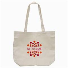 Be Yourself Pink Orange Dots Circular Tote Bag (cream) by BangZart