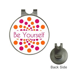 Be Yourself Pink Orange Dots Circular Hat Clips With Golf Markers