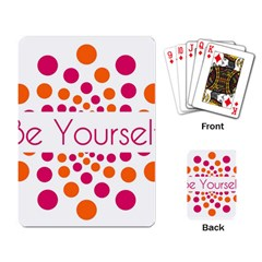 Be Yourself Pink Orange Dots Circular Playing Card by BangZart