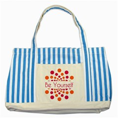 Be Yourself Pink Orange Dots Circular Striped Blue Tote Bag