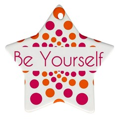 Be Yourself Pink Orange Dots Circular Star Ornament (two Sides)