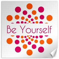 Be Yourself Pink Orange Dots Circular Canvas 12  X 12   by BangZart