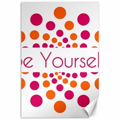 Be Yourself Pink Orange Dots Circular Canvas 24  X 36  by BangZart