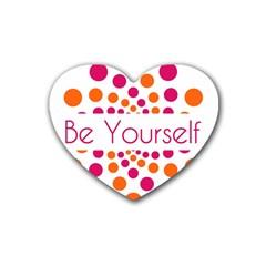 Be Yourself Pink Orange Dots Circular Rubber Coaster (heart)  by BangZart