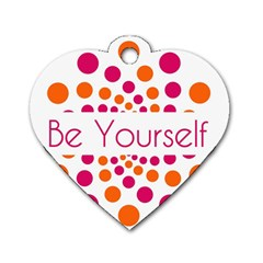 Be Yourself Pink Orange Dots Circular Dog Tag Heart (one Side)