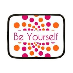 Be Yourself Pink Orange Dots Circular Netbook Case (small)  by BangZart
