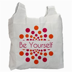 Be Yourself Pink Orange Dots Circular Recycle Bag (one Side)