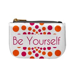 Be Yourself Pink Orange Dots Circular Mini Coin Purses