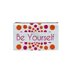 Be Yourself Pink Orange Dots Circular Cosmetic Bag (small)  by BangZart
