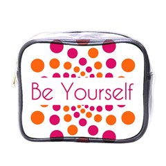 Be Yourself Pink Orange Dots Circular Mini Toiletries Bags by BangZart