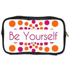 Be Yourself Pink Orange Dots Circular Toiletries Bags 2 Side by BangZart
