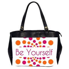 Be Yourself Pink Orange Dots Circular Office Handbags (2 Sides)  by BangZart