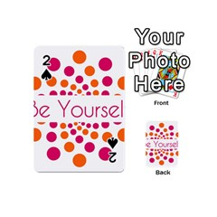 Be Yourself Pink Orange Dots Circular Playing Cards 54 (mini)