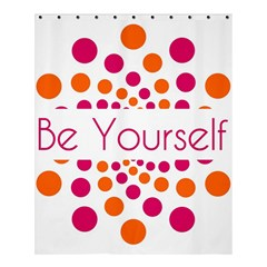 Be Yourself Pink Orange Dots Circular Shower Curtain 60  X 72  (medium)  by BangZart