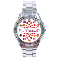 Be Yourself Pink Orange Dots Circular Stainless Steel Analogue Watch