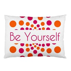 Be Yourself Pink Orange Dots Circular Pillow Case (two Sides) by BangZart
