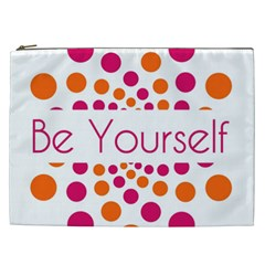 Be Yourself Pink Orange Dots Circular Cosmetic Bag (xxl)