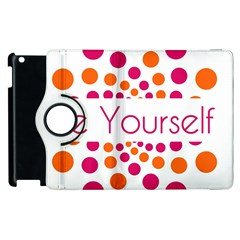 Be Yourself Pink Orange Dots Circular Apple Ipad 3/4 Flip 360 Case by BangZart