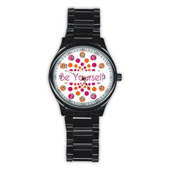 Be Yourself Pink Orange Dots Circular Stainless Steel Round Watch by BangZart