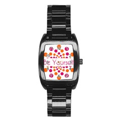 Be Yourself Pink Orange Dots Circular Stainless Steel Barrel Watch
