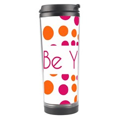 Be Yourself Pink Orange Dots Circular Travel Tumbler by BangZart