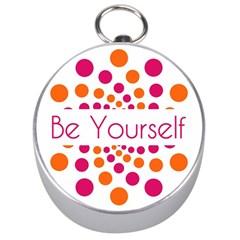 Be Yourself Pink Orange Dots Circular Silver Compasses