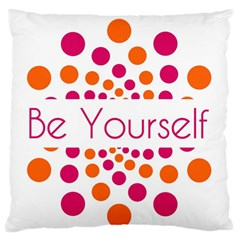 Be Yourself Pink Orange Dots Circular Large Flano Cushion Case (one Side) by BangZart