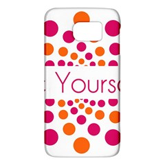 Be Yourself Pink Orange Dots Circular Galaxy S6 by BangZart