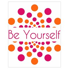 Be Yourself Pink Orange Dots Circular Drawstring Bag (small)