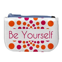 Be Yourself Pink Orange Dots Circular Large Coin Purse