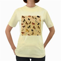 Horses For Courses Pattern Women s Yellow T Shirt