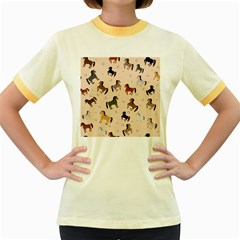 Horses For Courses Pattern Women s Fitted Ringer T Shirts