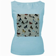Horses For Courses Pattern Women s Baby Blue Tank Top by BangZart