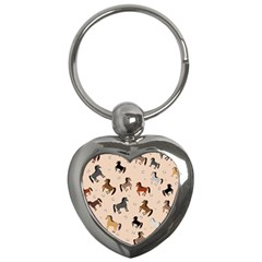 Horses For Courses Pattern Key Chains (heart)  by BangZart