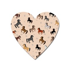 Horses For Courses Pattern Heart Magnet by BangZart