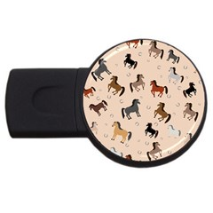 Horses For Courses Pattern Usb Flash Drive Round (4 Gb) by BangZart