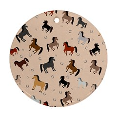 Horses For Courses Pattern Round Ornament (two Sides)