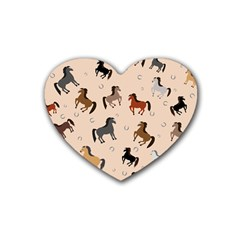 Horses For Courses Pattern Heart Coaster (4 Pack)