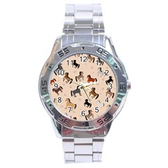 Horses For Courses Pattern Stainless Steel Analogue Watch