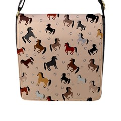 Horses For Courses Pattern Flap Messenger Bag (l)  by BangZart