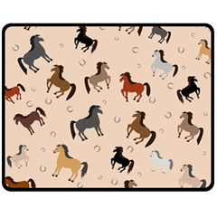 Horses For Courses Pattern Double Sided Fleece Blanket (medium)  by BangZart